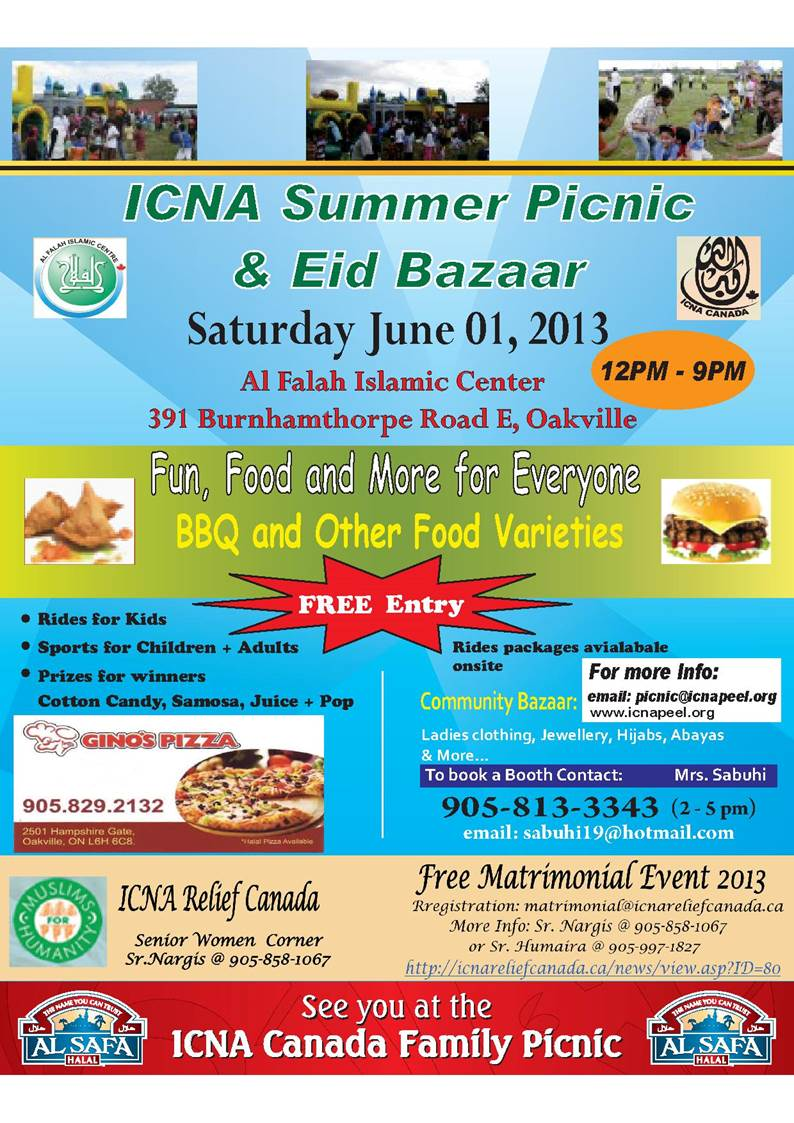 ICNA Picnic And Free ICNA Relief Canada Matrimonial Event